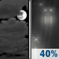 Sunday Night: Mostly Cloudy then Chance Light Rain